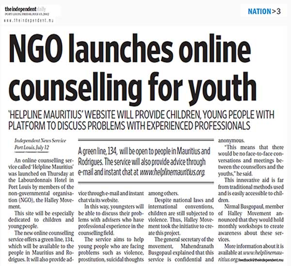 NGO launches online counselling for youth