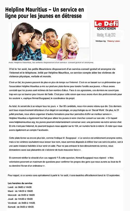 Helpline Mauritius - Un service en ligne pour les jeunes en détresse