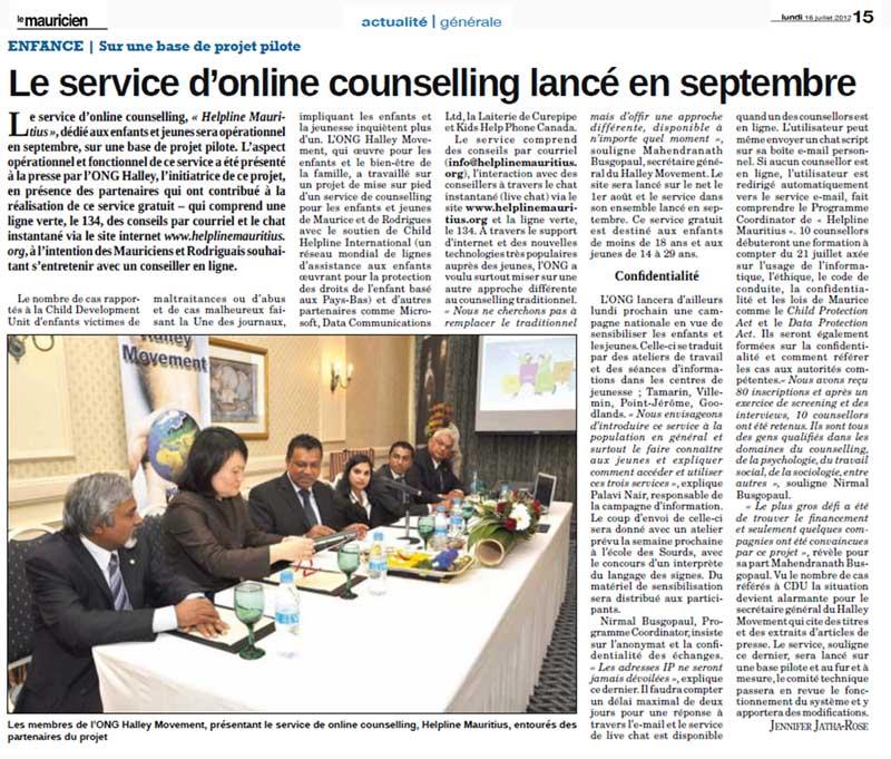 Le service d'online counselling lancé en septembre