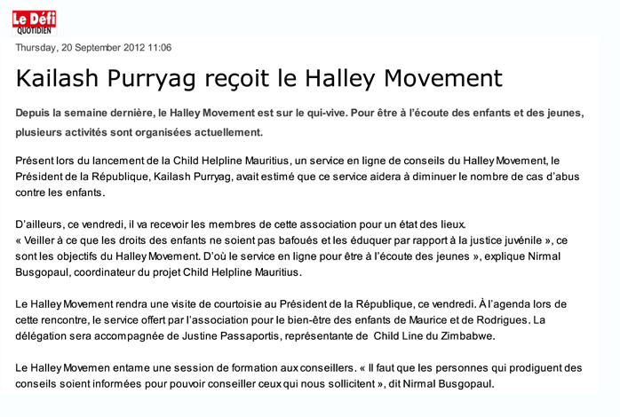 Kailash Purryag reçoit le Halley Movement