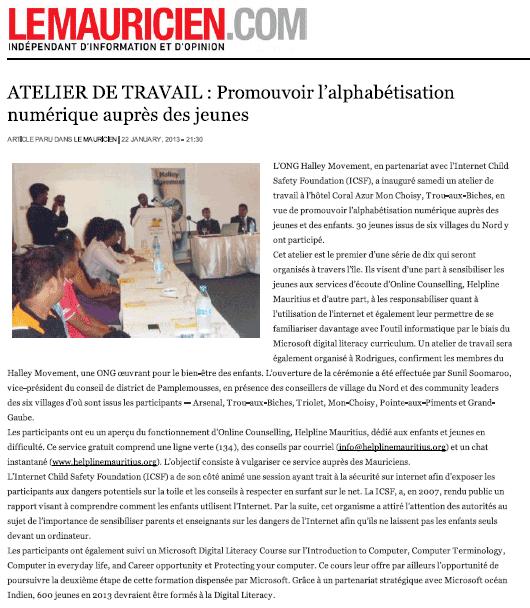ATELIER DE TRAVAIL : Promouvoir l'alphabétisation numérique auprès des jeunes