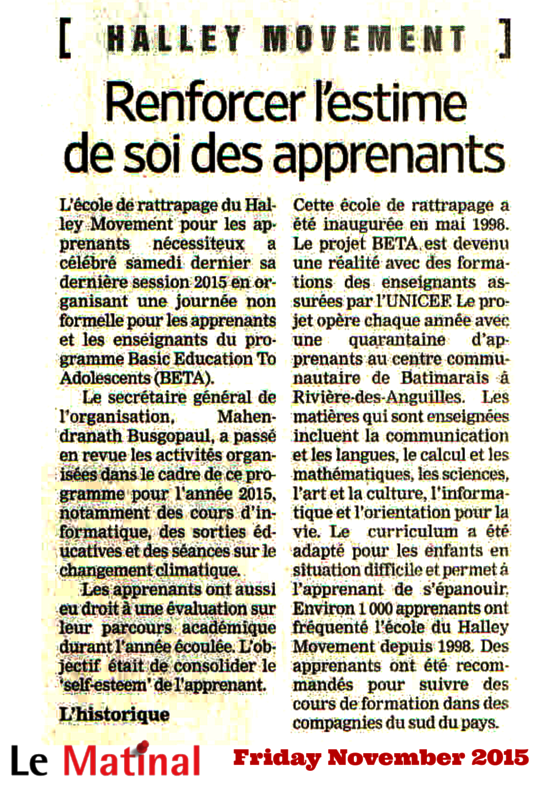 "Press article ""Renforcer l'estime de soi des apprenants"""